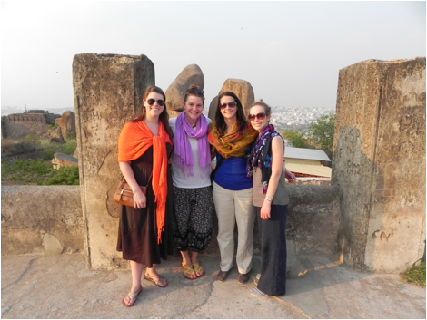 The team on top of the Golkonda Fort