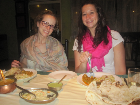 Carolyn and Lauren enjoying their Biryani